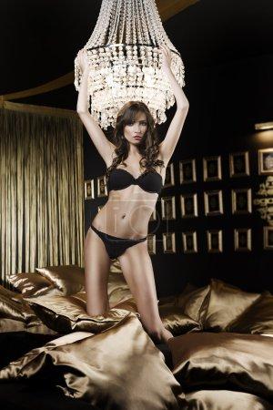 Girl in lingerie in dark luxory room