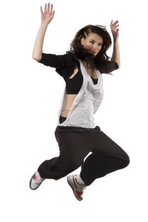 Girl hip hop dancer jumping