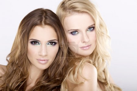 Photo pour Deux souriant attractives girl friends - blondes et Brunettes sur fond blanc - image libre de droit