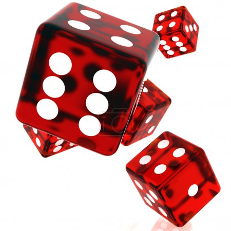 Photo for 3D Red rolling dice on white background - Royalty Free Image