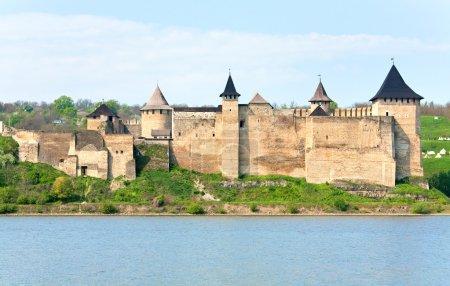 Spring view of Khotyn Fortress (Chernivtsi Oblast, Ukraine)