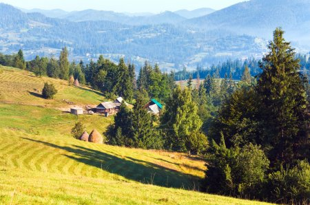 Photo for Summer misty mountain village (countryside landscape) - Royalty Free Image