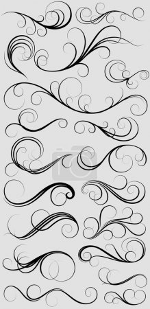 Illustration for Creative Decor Design Of Stylish Swirl Thin Elements - Royalty Free Image