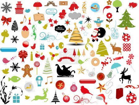 Vector illustration - set of christmas icons and Graphics vector stock