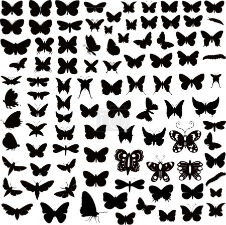 Illustration for Abstract Decor Design Of Butterflies Silhouettes Illustration - Royalty Free Image