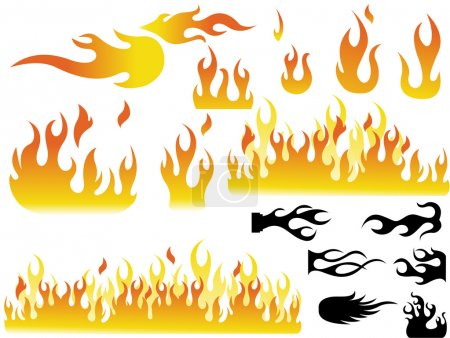 Illustration for Creative Decorative Artistic Concept Of Fire Flame Illustration Designs Set - Royalty Free Image