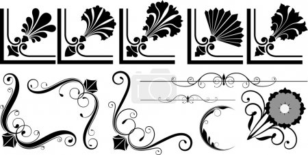 Illustration for Isolated Decorative Collection Of Artistic Decorative Flourish Corner Designs - Royalty Free Image