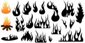 Conceptual Fire Flame Silhouettes