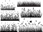 Set Of Ancient Grass Silhouettes