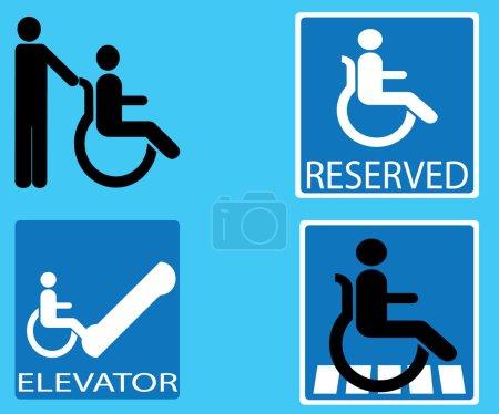 Handicap blue signs set