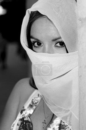 Black and white portrait of beautiful Muslim girl