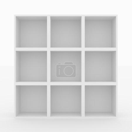 Photo for Empty white bookshelf isolated on white. 3D render image. - Royalty Free Image
