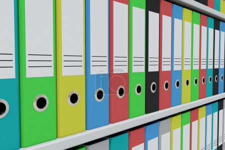 Photo for Row of colorful archive folders on the shelves. Computer generated image. - Royalty Free Image