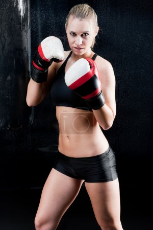 Sexy boxing training woman with gloves in gym
