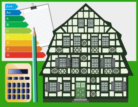 Photo pour Mesures d'optimisation énergétique pour les bâtiments anciens et historiques de construction doit être planifié exactement et peut sans danger beaucoup d'argent dans le futur - image libre de droit