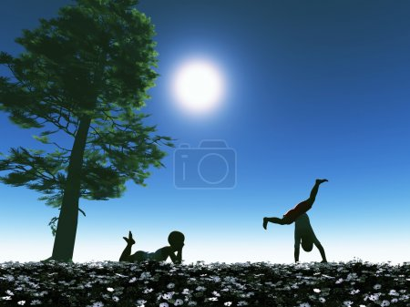 Photo for Two playing kids as symbol for happy and carefree childhood full of mysteries. - Royalty Free Image