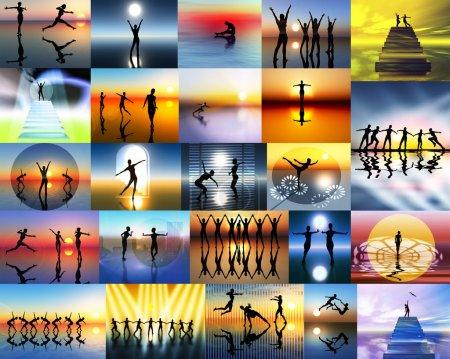 Photo pour Collage tout au sujet de théâtre, musique et ballet, abstraites, décoratives, idéal pour les affiches pour les studios de danse - image libre de droit