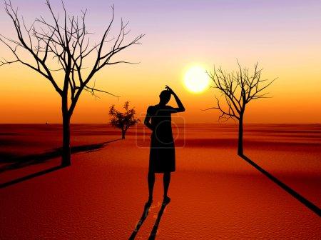 Photo pour Femme désespérée : la sécheresse comme le résultat de changements globaux de réchauffement de la planète et du climat - image libre de droit