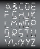 Original metal font in the style the designer on a gray background