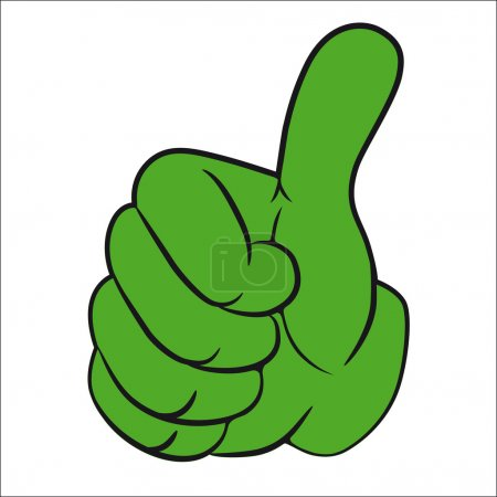 Illustration for Art vector hand gesture with thumb up. - Royalty Free Image