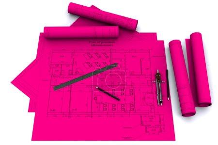 brújula, regla y lápiz sobre dibujos arquitectónicos magenta