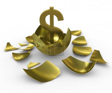 Photo pour Signe de dollar or issues des œufs d'or - image libre de droit