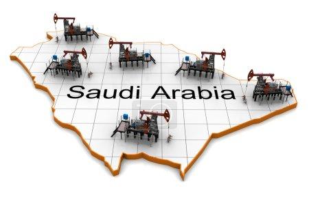 Oil pump-jacks on a map of Saudi Arabia