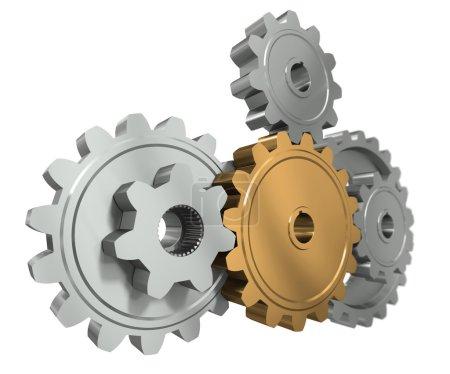Group gears. Symbol leader in team work