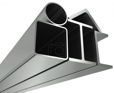 Photo pour Pipe en métal, de poutres, angles, canaux et tube carré sur fond blanc - image libre de droit