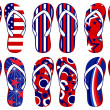 Set of fun Flip flops with American flag related d...