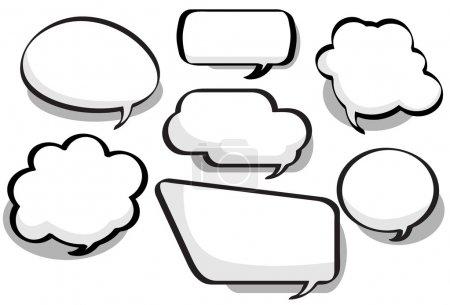 Illustration pour Bulles de causerie dans une variété de circulaire, bulle et styles rectangulaires - image libre de droit