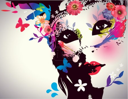 Illustration for Girl with mask/Vector illustration - Royalty Free Image