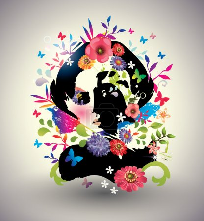 Illustration for Vector floral girl - Royalty Free Image