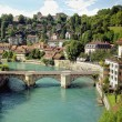 Medieval houses lining the banks of the Aare river...