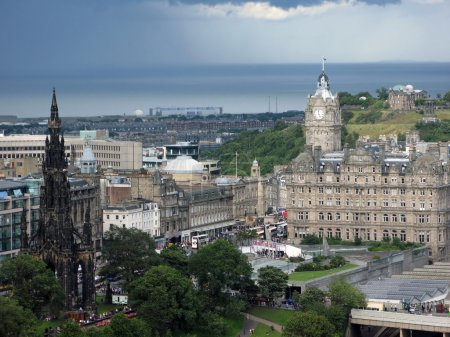 Photo for Aerial view of Edinburgh, the capital of Scotland, from the famous Edinburgh castle. - Royalty Free Image