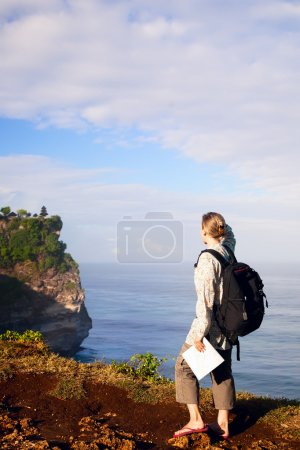 Photo for Woman tourist looking on the temple - Royalty Free Image