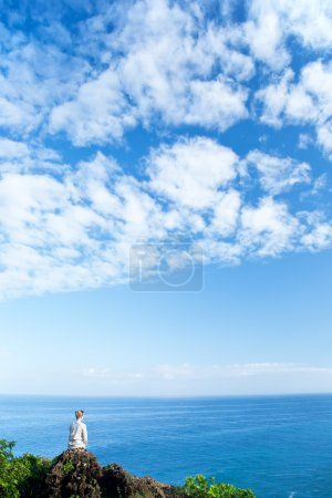Photo for Beauty young woman enjoying the seascape - Royalty Free Image