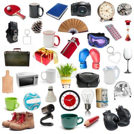 Foto de Conjunto de diferentes objetos isolatad sobre un fondo blanco - Imagen libre de derechos