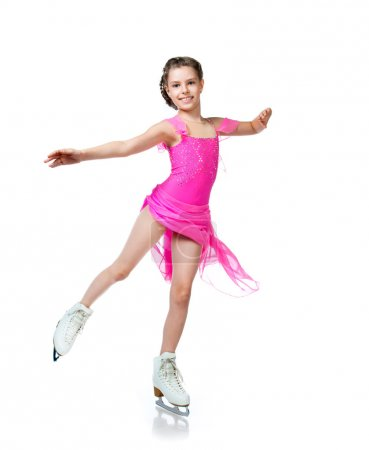 Photo for Girl on skates isolated on a white background - Royalty Free Image