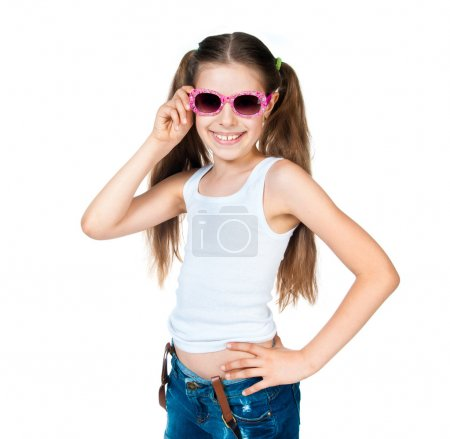 Photo for Cute girl with pink sunglasses isolated on white background - Royalty Free Image