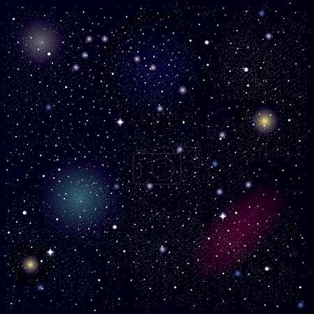 Illustration pour Illustration vectorielle du ciel étoilé. Fond spatial - image libre de droit