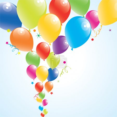 Illustration for Vector illustration of colorful balloons in the sky - Royalty Free Image