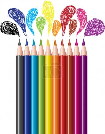 Set of colored pencils and bubbles