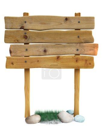 Photo pour Plateau en bois sur une herbe - image libre de droit