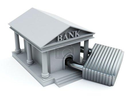 Bank-Symbol mit Vorhängeschloss