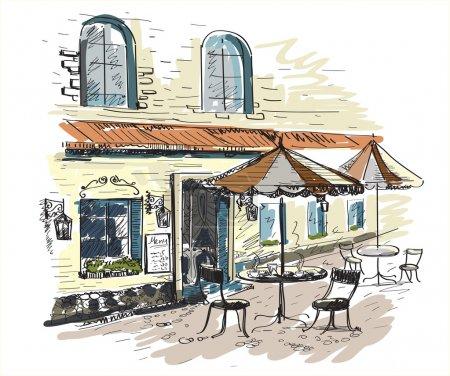 Photo pour Vieille ville avec un café au vecteur - image libre de droit