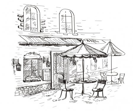 Illustration for Old city with a cafe in vector - Royalty Free Image