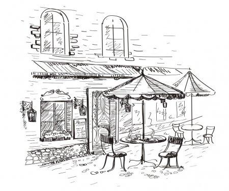 Illustration pour Vieille ville avec un café en vecteur - image libre de droit