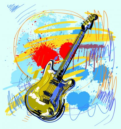 Illustration for Vector hand drawn of guitar on colour background - Royalty Free Image