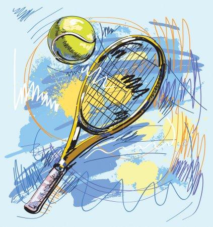 Illustration pour Tennis collection originale dessinée à la main - image libre de droit